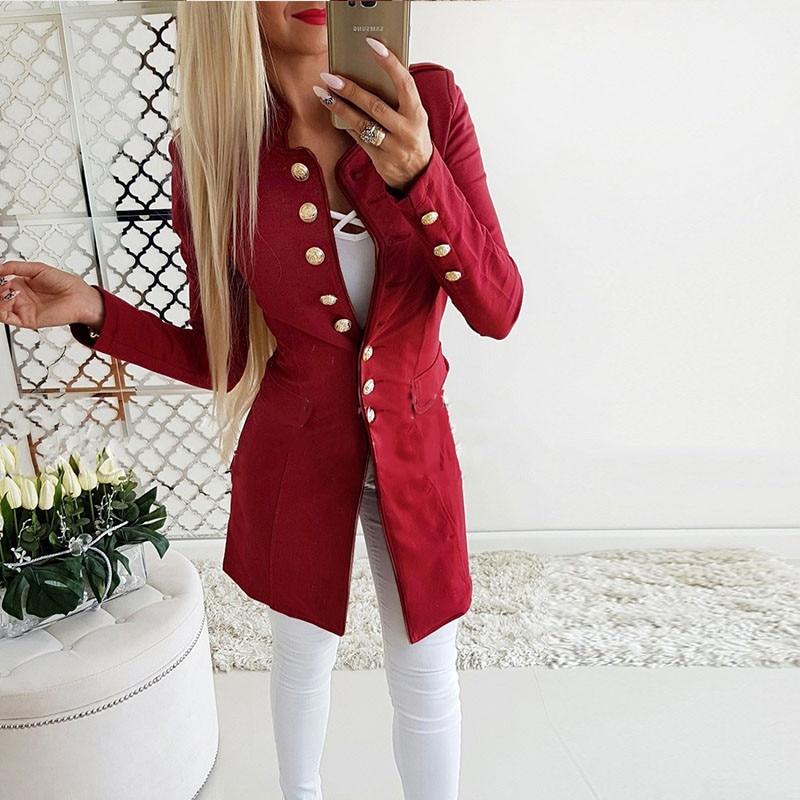 ecbf4c8d44 Ahagaga 2018 Inverno Primavera Blazers Moda Feminina Mandarim Collar ...