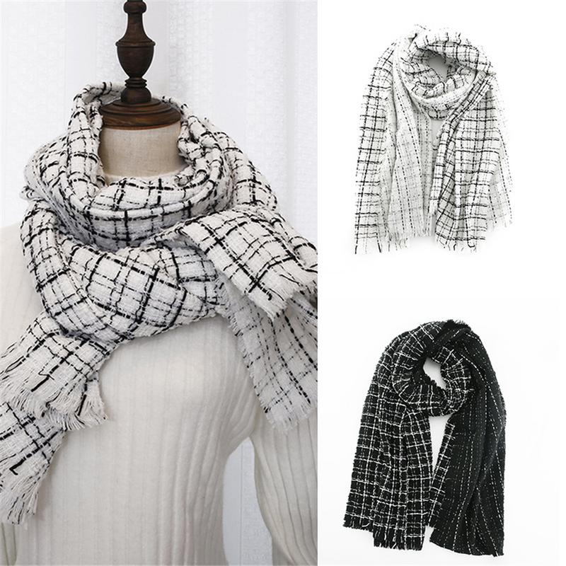 2018 Cashmere Shawl Large Soft & Heavy Women's   Scarf     Wrap   High-grade Winter Warm Black White Plaid For Women 200*65cm