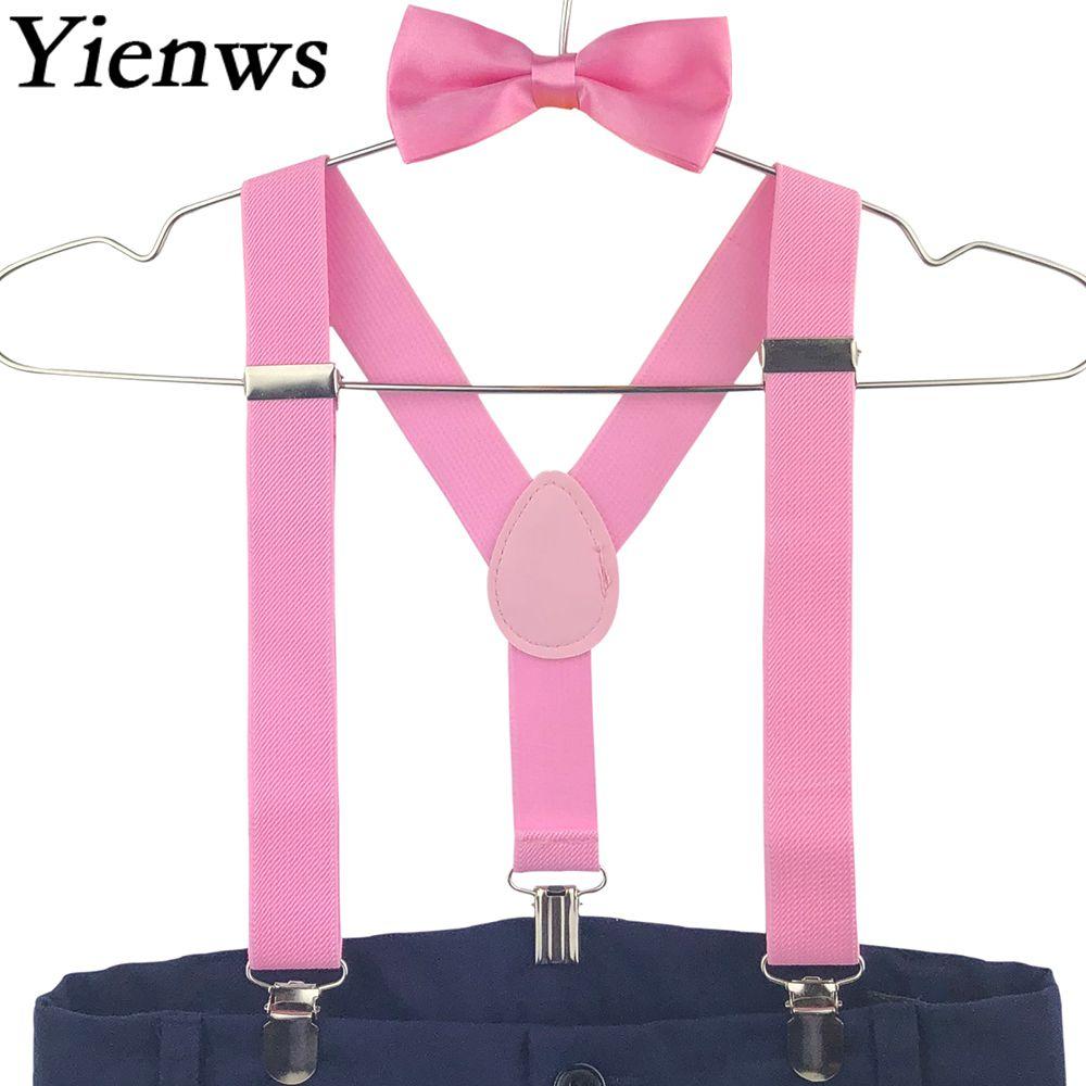 Yienws 10pieces Baby Kids Suspenders Bow Tie Set 3 Clip Boys Suspenders Wedding Party Girls Bowtie Braces Wholesale YiA030