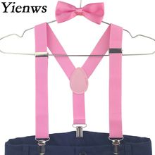 Yienws 10pieces Baby Kids Bow Tie Set 3 Clip Boys Suspenders Wedding Party Girls