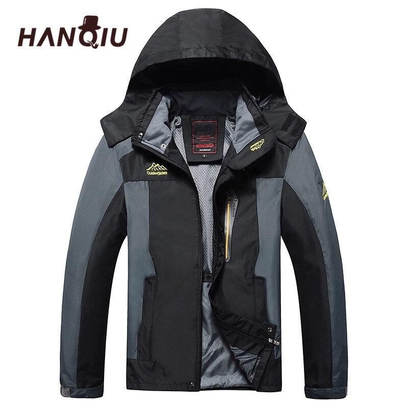 한지 브랜드 플러스 사이즈 L-8XL 루스 코트 남자 아웃웨어 방수 스포츠 용 재킷 남자 자켓 후드 폭격기 자켓 Jaqueta Masculino