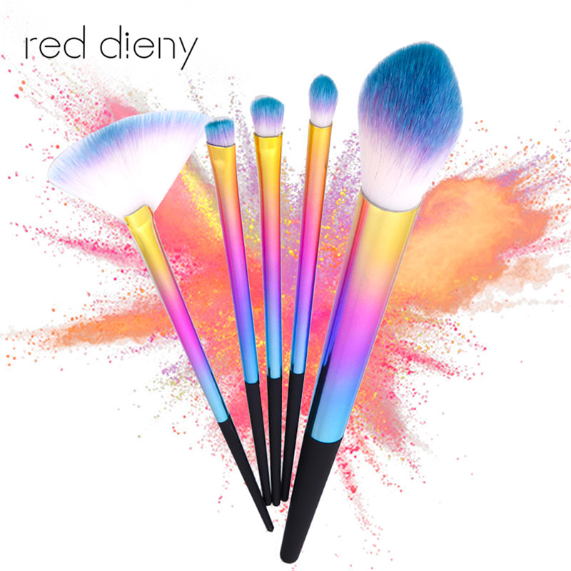 5PCS Makeup Brush Kit Set For Loose Powder EyeShadow  Highlight And Bronzer Concealer Blending With Rainbow Handle For Face&Eye