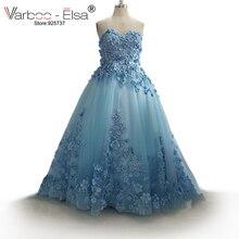 VARBOO_ELSA robe de soiree dubai arap balo elbise sevgiliye aplikler İnciler tül mavi balo kıyafetleri 2018 online arapça elbise