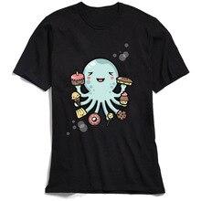 Funny Men's Cartoon T-shirt Room For Dessert Tops TShirt Short Sleeve Cotton Father Day Crewneck Tee Shirts Octopus Sweatshirts short sleeve octopus tentacles print tee