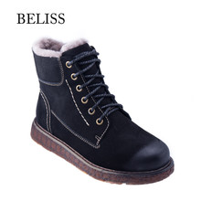 BELISS ankle boots women genuine leather 2018 casual warm fur comfortable lace up flats winter boot for handmade B41