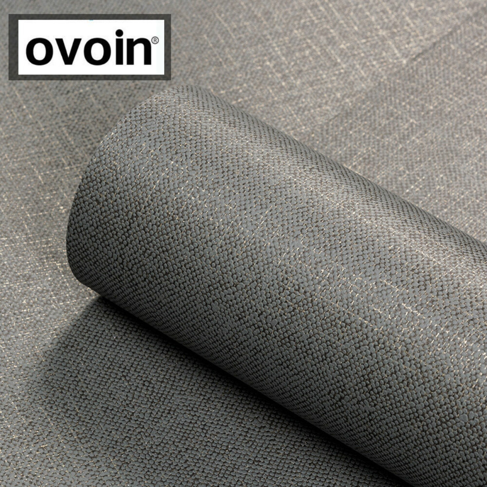 Image 2 - Black Metallic Plain Linen Textured Wallpaper Roll Modern Woven Effect Simple Solid Color Wall Paper Dark GreyWallpapers   -