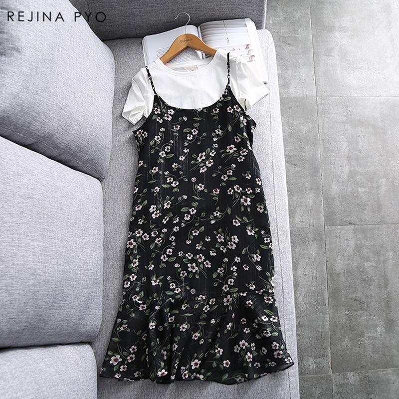 RejinaPyo 2018 Spring Summer New Arrival Women Chiffon Floral Print Dress Mid-Calf Length Short Sleeve Female A-Line Dresses