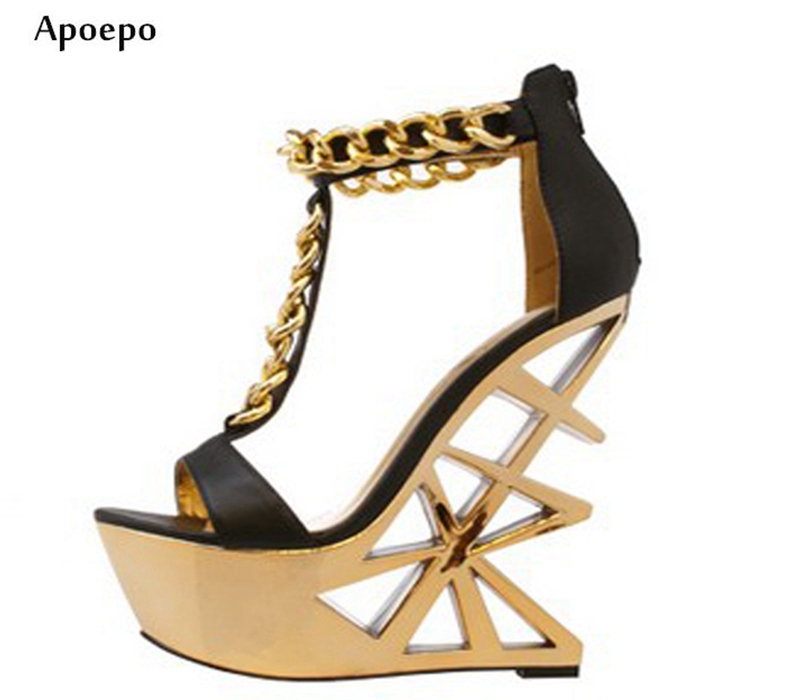 Apoepo Hot Selling Fretwork Heels high Heel Sandal for Woman Gold Chains T-strap Platform Sexy Sandal Peep Toe Gladiator Shoes hot selling crystal embellished wedding heels sexy peep toe platform pumps woman high heel shoes