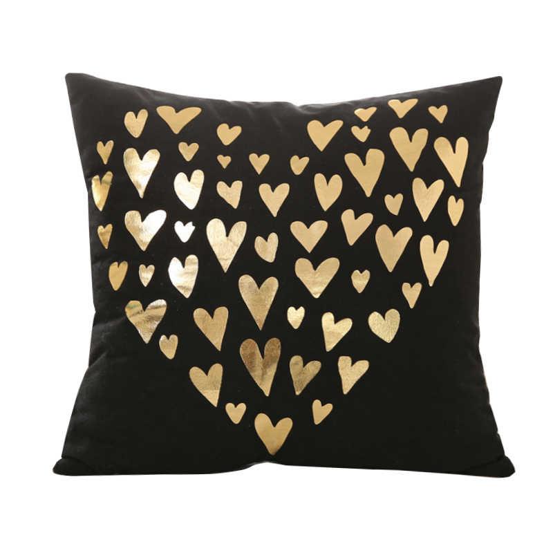 الذهب البرنز المخدة الأسود هندسية وسادة غطاء لغرفة النوم المنزل مكتب كسوة وسائد للزينة الأيائل الحب رسالة سادات