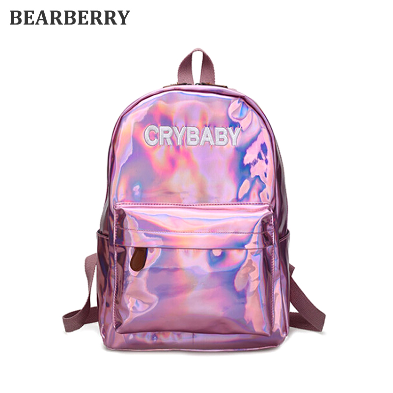 BEARBERRY 2017 Soft PU Leather Backpack Harajuku Embroidery Letters Laser Backpack School Bags For girls large