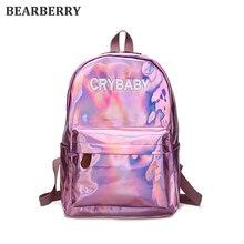 Золотарник 2017 мягкая искусственная кожа рюкзак HARAJUKU Вышивка буквы лазерный рюкзак Школьные ранцы для девочек большая емкость сумки