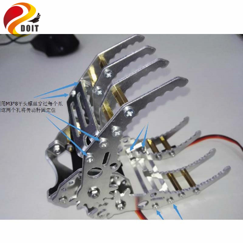 DOIT metal aluminum robotic gripper claw paw hand finger for robot mechanical clamp mount kit manipulator arm diy rc toy 6 dof metal mechanical arm robot manipulator robotic claw robotics part for diy rc toy remote control clamp paw claw servo