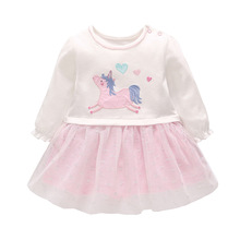 New 2019 Girls Easter Heart Dress Pink Autumn Animal Unicorn For Princess Spring Costume Children Dressed With Horse