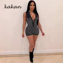 Kakan best selling womens tight jumpsuit summer sexy hot drilling shorts zipper blue black