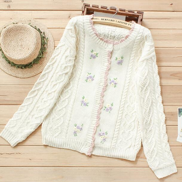 c9d3ca9a1 Twist flower embroidery rustic wool femine Cardigan sweater mori girl autumn  winter
