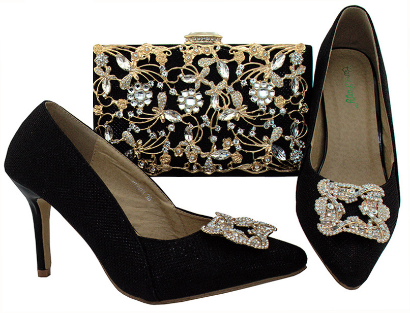 shining Stones in 8.5cm African Nigerian style shoes matching bags set Ladies party high heels Italian Shoes and Bag Set africa style pumps shoes and matching bags set fashion summer style ladies high heels slipper and bag set for party ths17 1402