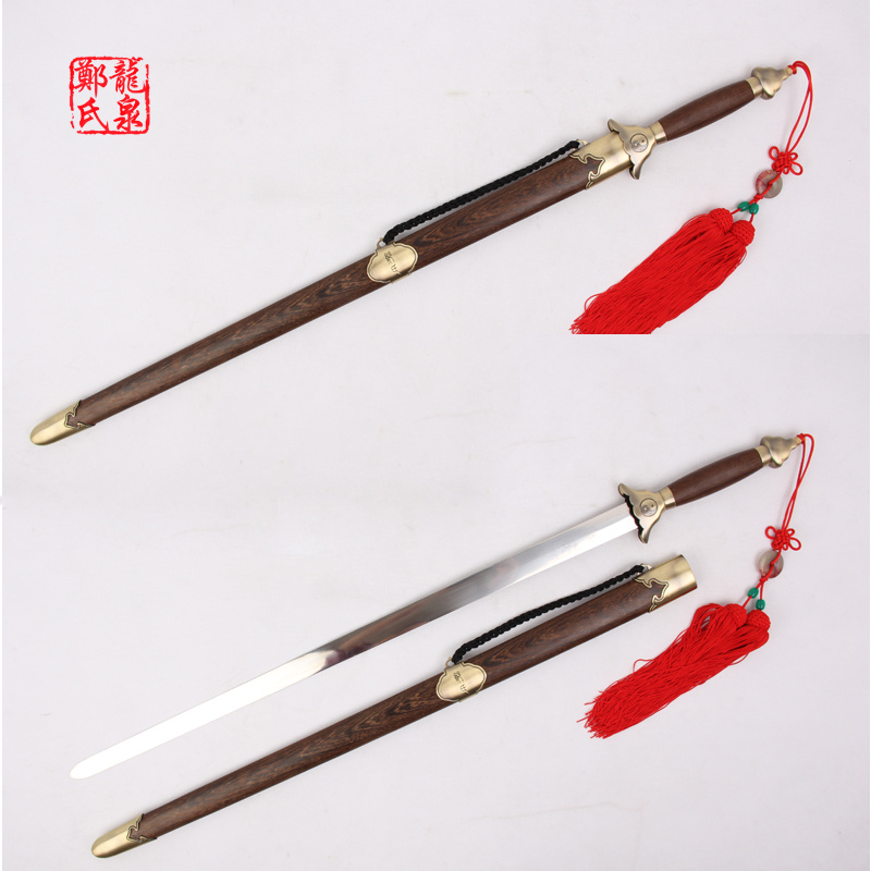 Chinese Martial Art Sword Stainless Steel flexible Blade For Practice TaiJi Jian Rose Wood Scabbard Zinc