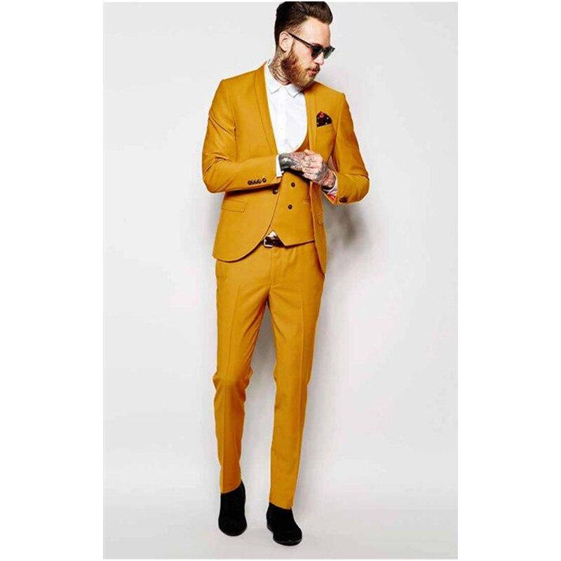 377 Yellow Shawl Lapel Men Suit Formal Skinny Colorful Stylish Prom Custom Blazer Men 3 Piece Groom Tuxedos (Jacket+Pants+Vest) B982