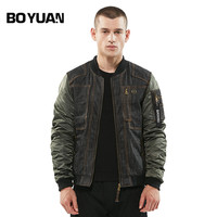 BOYUAN Brand Quality Polit Jackets Men Baseball Bomber Jacket Men Stand Collar Spliced Long Sleeve Denim