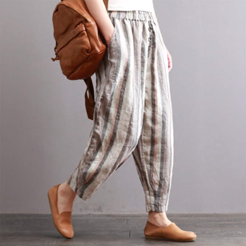 ZANZEA Autumn Office Ladies Harem Pants Casual Elastic Waist Vertical Striped Pockets Buttons Cotton Linen Full-Length Trousers