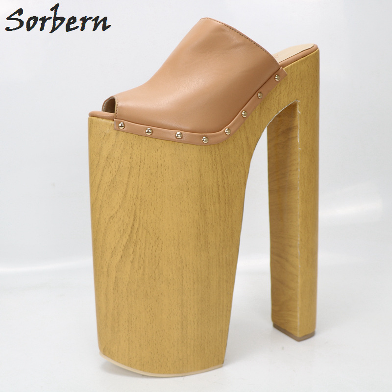 Sorbern Brown Slippers Super High Heels Open Toe Slides Women Chunky Plus Size 11 Womens Shoes Fancy Heels For Crossdressers brown women slippers super high heels with platform slides scarpe donna sandali 2017 fashion summer women shoes plus size