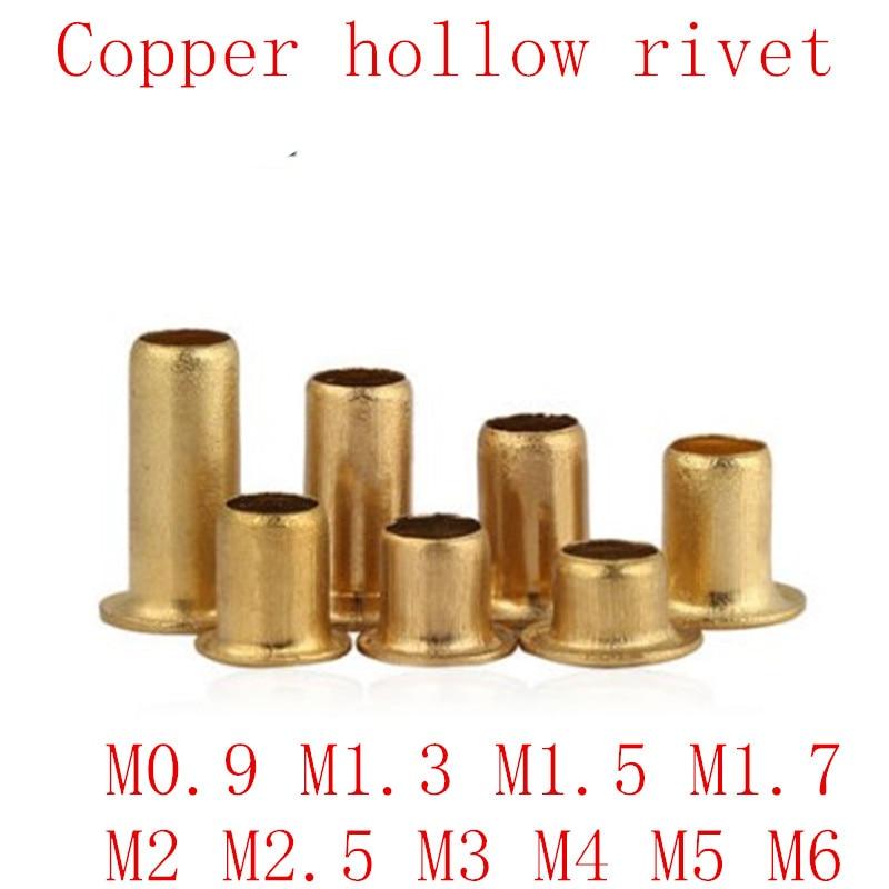 100-500pcs M0.9 M1.3 M1.5 M1.7 M2 M2.5 M3 m4 m5 m6 Tubular Rivets Double-sided Circuit Board PCB Nails Copper Hollow Rivet