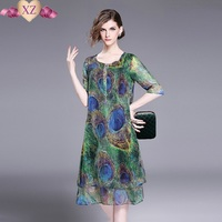 2017 Top Brand Summer Women S Fashion Print Patchwork Slik Casual Dress Slim Ladies Sundress Beautiful