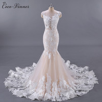 C V Latest Fashion Sexy Backless Lace Wedding Dress White Champagne Color Fish Tail Long Mermaid
