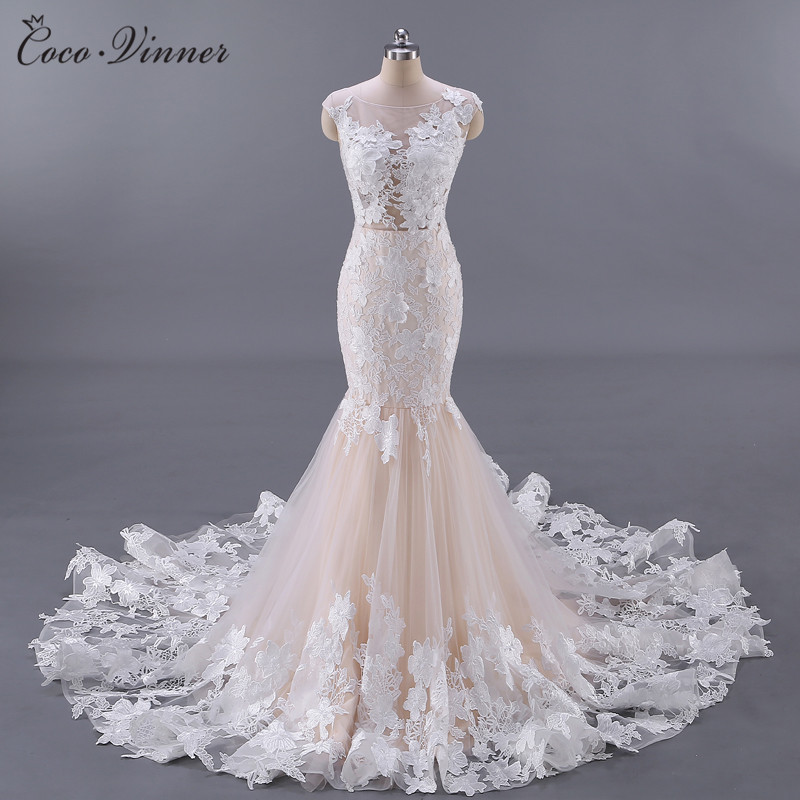 C.V Real Photo Vestido De Noiva Sexy Backless Floral Appliques Sexy Wedding Dress Champagne Color Mermaid Wedding Dresses W0045