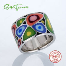 Silver Rings for Women HANDMADE Colorful Enamel Ring Pure 925 Sterling Silver Female Ring Party Fashion Jewelry