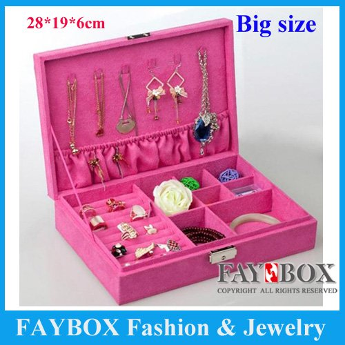Big size Luxury velvet jewellery box case earringring necklace