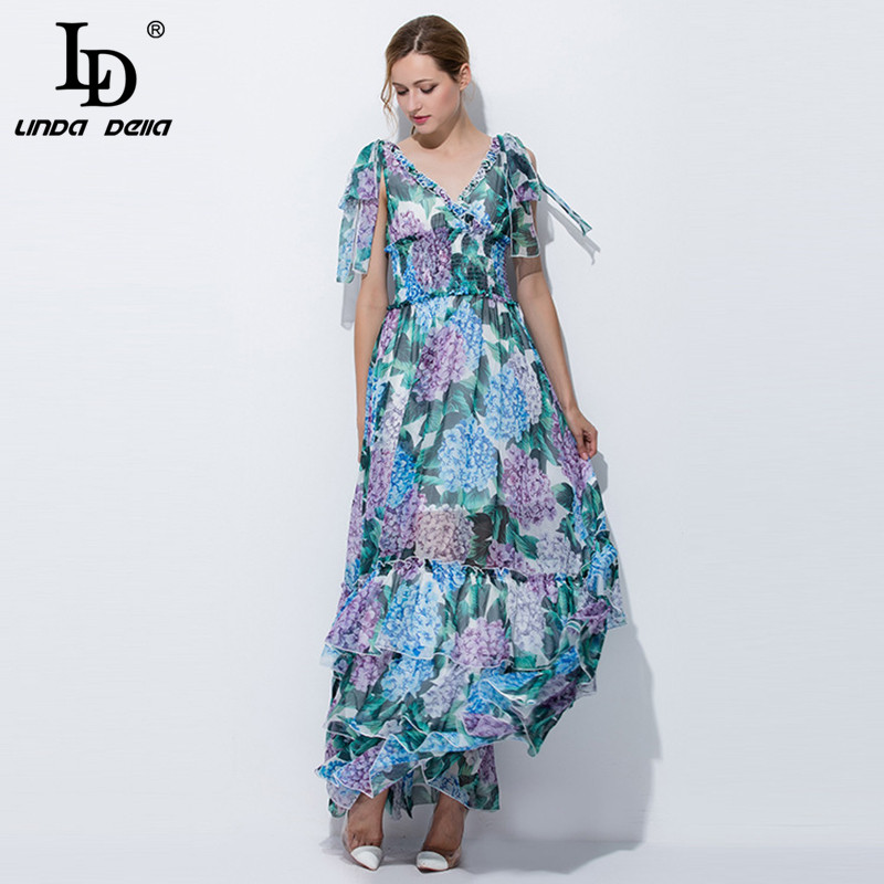 High Quality 2017 Runway Summer Maxi Dress Women
