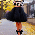 2017 Custom made 5 Layers Midi Tulle Skirts Womens Petticoat Belt Tutu Skirt Autumn Chic hippie Ball Gown faldas saia longa jupe