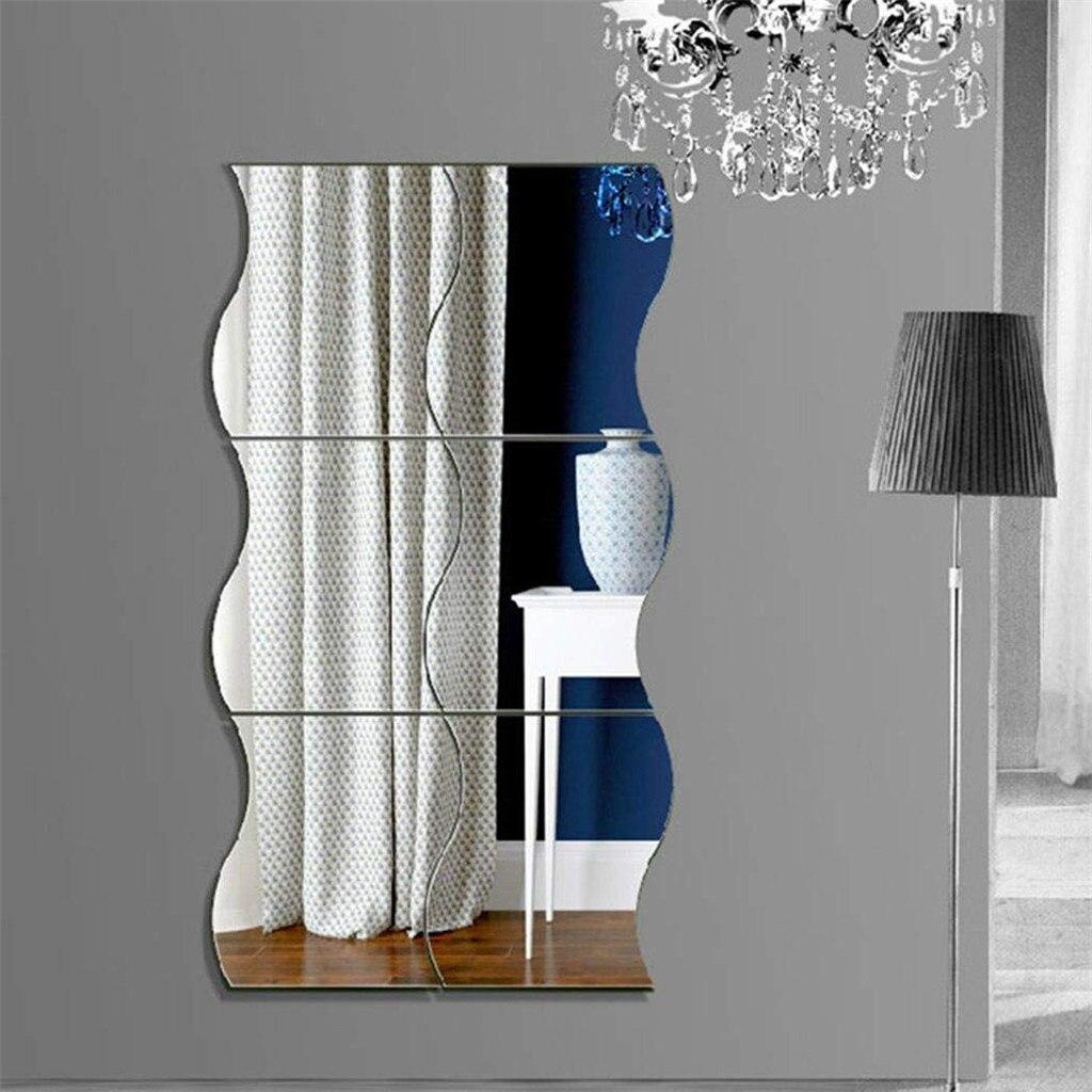 1 Set Mirror Wall Stickers Home Decoration DIY Art Wave Mirror Wall Stickers 3D Bedroom Mirror Stickers 12 x 10cm#w