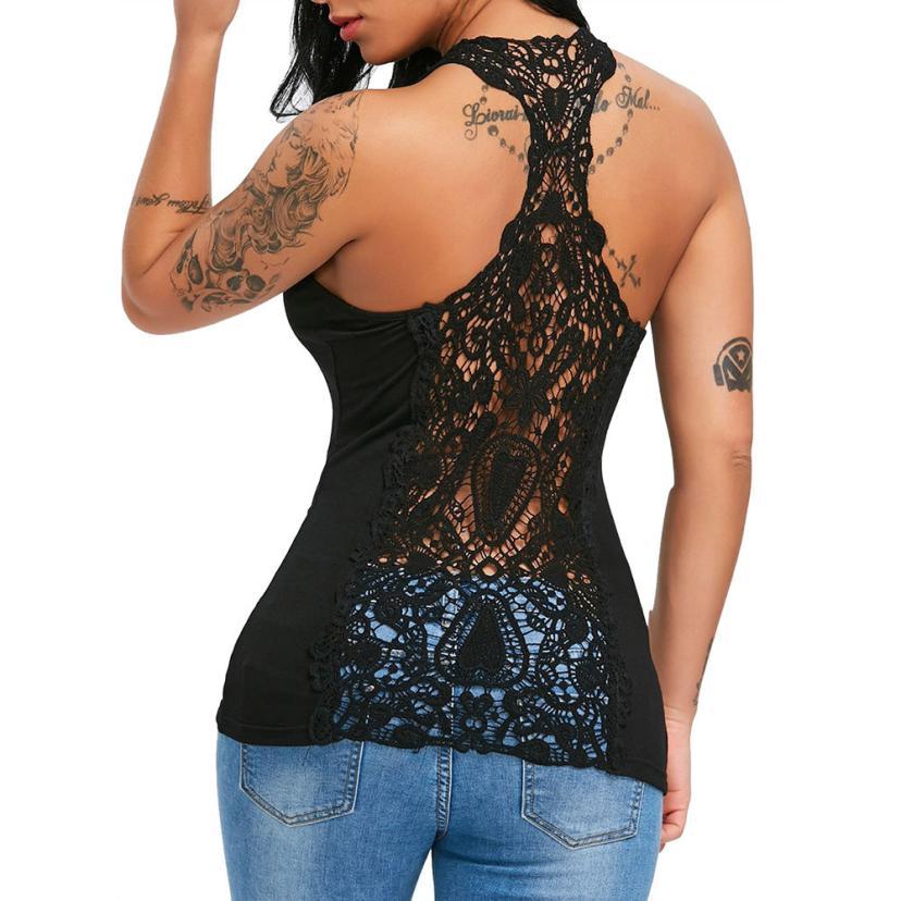 Sexy Womens U-neck Halter Lace Solid Vest   Top   U Neck Lace Trim Racerback   Tank     Tops   Hollow Out Vest halter   top