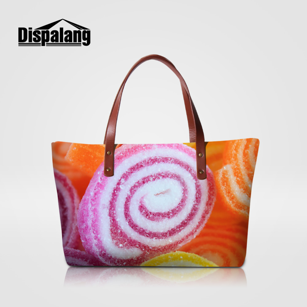 Dispalang Women Casual Tote Bag Candy Print Female Handbag Fashion Large Shopping Bag Designer Bags Big Shoulder Beach Bag