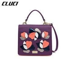 Cluci damentaschen schulranzen original design lila blumen appliques abdeckung kleine handtaschen crossbody taschen für frauen umhängetasche