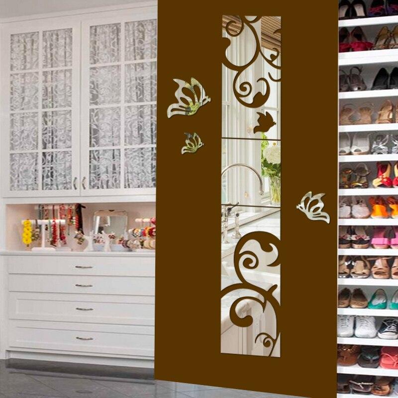 Décoration murale 3D Miroir Sticker Mural Chambre Salon Décoration Vinyle Stickers Muraux Autocollants Art Mural Pour Chambre