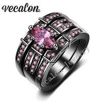 Vecalon mujeres banda de boda anillo set Marquise cut 3ct Rosa piedra aaaaa ZIRCON CZ 14KT Oro Negro relleno anillo de compromiso