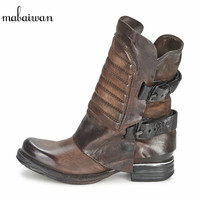 Vintage Genuine Leather Women Ankle Boots Square Toe Thick Heel Flat Booties Side Zipper Botas Militares