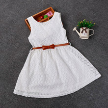 2017 Summer Lace Vest Girls Dress Baby Girl Princess Dress 2-7 Years Chlidren Clothes Kids Party Clothing For Girls Free Belt