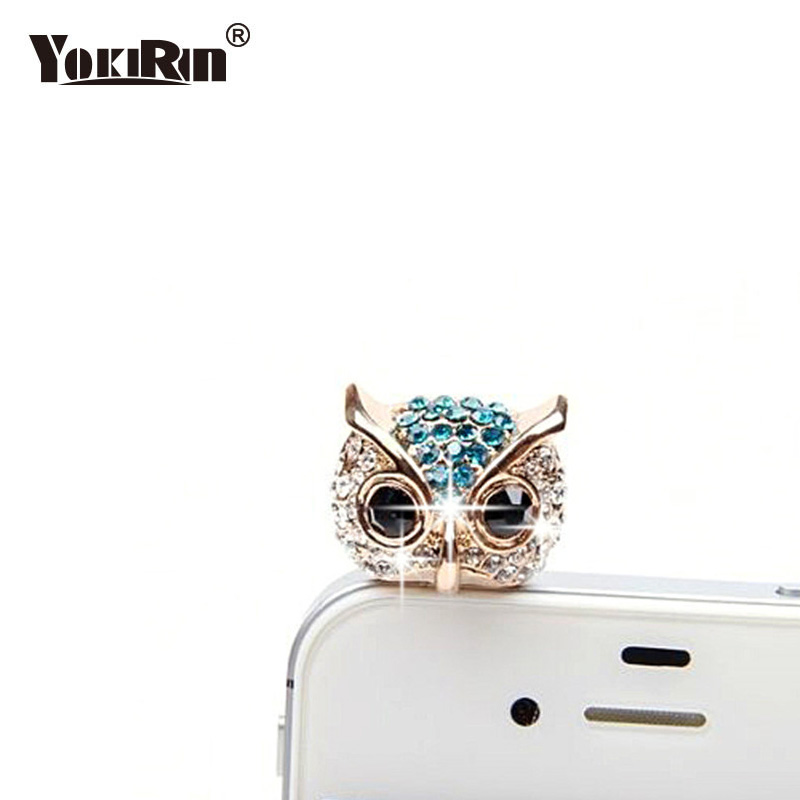 Turata Telephone Mobile Phone Dust Plug Earphone Jack Plugs Suitable For All 3.5mm Headphone Plug Studs Phone Big Eye Owl Dust Plug