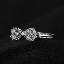 Bow Anniversary Wedding Ring For Women Soild 925 Sterling Silver Jewelry