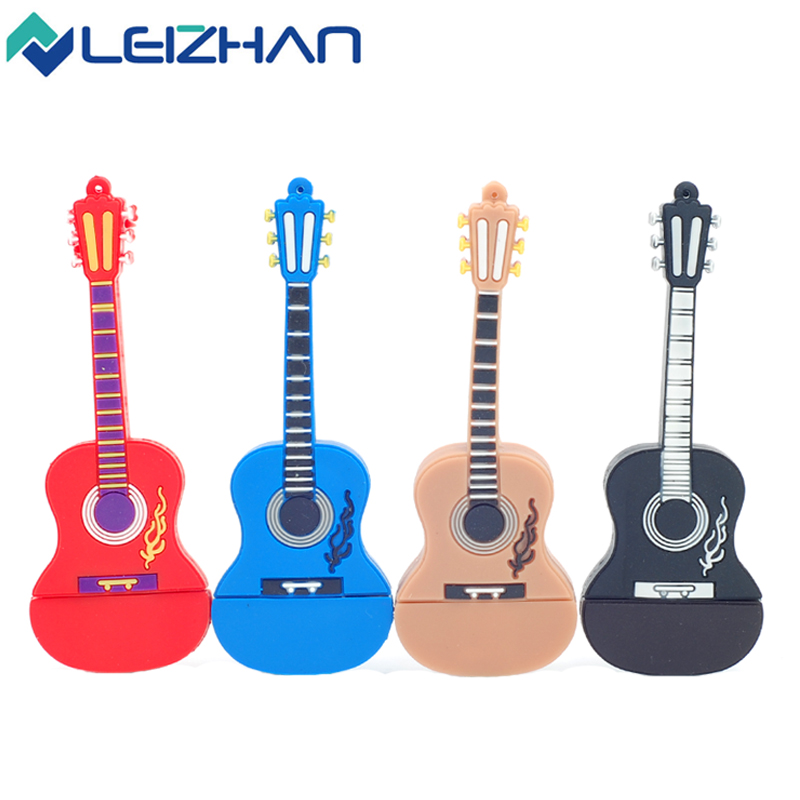 Cute Guitar 4GB 8GB 16GB 32G USB Flash Drive Pendrive  USB Stick External Memory Storage Pen Drive U Disk usb flash card