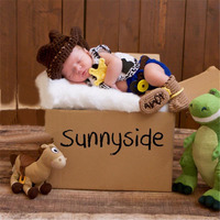 Newest Baby Boy Cowboy Photography Set Knit Crochet Cowboy Hat Jacket Diaper Cover And Boots 5pcs