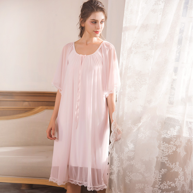 New Sleep Lounge Women Sleepwear Cotton Modal Nightgowns Sexy Long Maxi  Robe Home Dress White Mesh Nightdress Plus Size cd65707b2