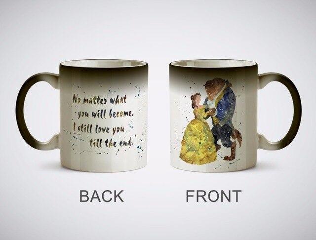 Beauty And the Beast mugs Belle cốc cà phê nhiệt tiết lộ cup quà tặng magical nhiệt sensitive Đen thay đổi màu ma thuật bia Trà mugen