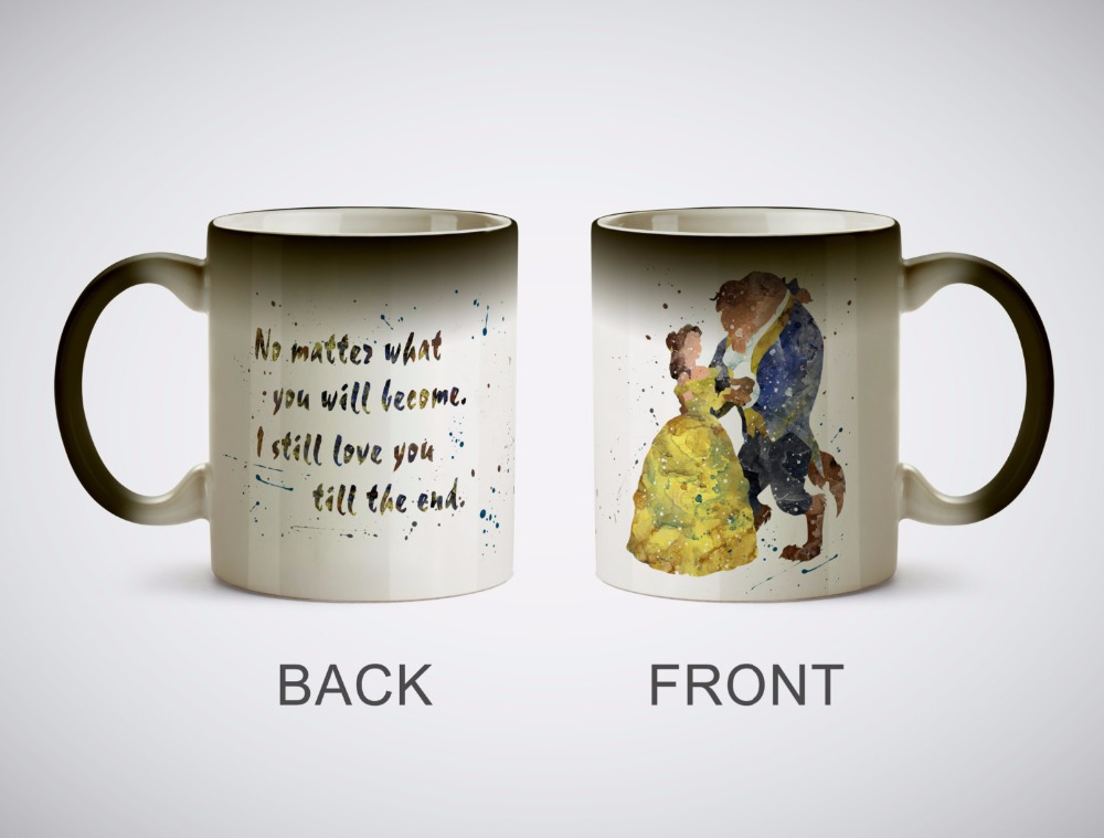 Beauty and the Beast mugs Belle coffee mugs heat reveal cup gifts magical heat sensitive Black