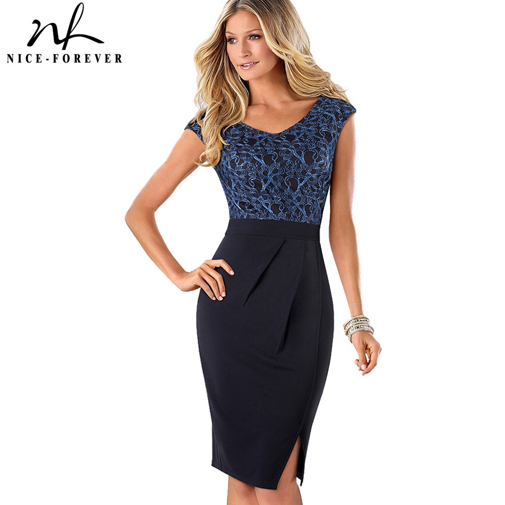 Nice-forever Vintage Elegant Floral Mesh Wear to Work Pleated vestidos Bodycon Office Business Sheath Women Dress B431