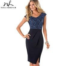 נחמד לנצח בציר אלגנטי פרחוני רשת ללבוש לעבודה קפלים vestidos Bodycon משרד עסקי נדן נשים שמלת B431